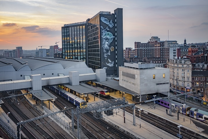 Leeds Train Station, Athena Rising Mural - credit Carl Milner Photography for VisitLeeds