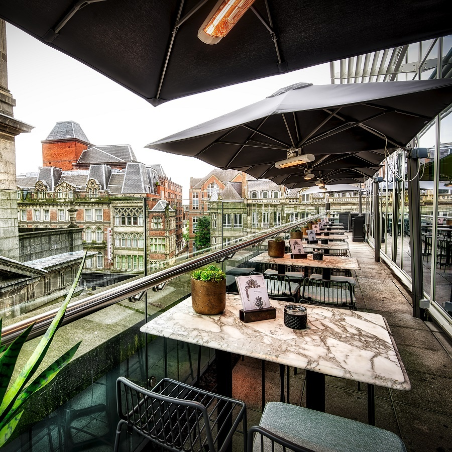 The terrace at the Alchemist in Trinity Leeds, credit Phil Barton
