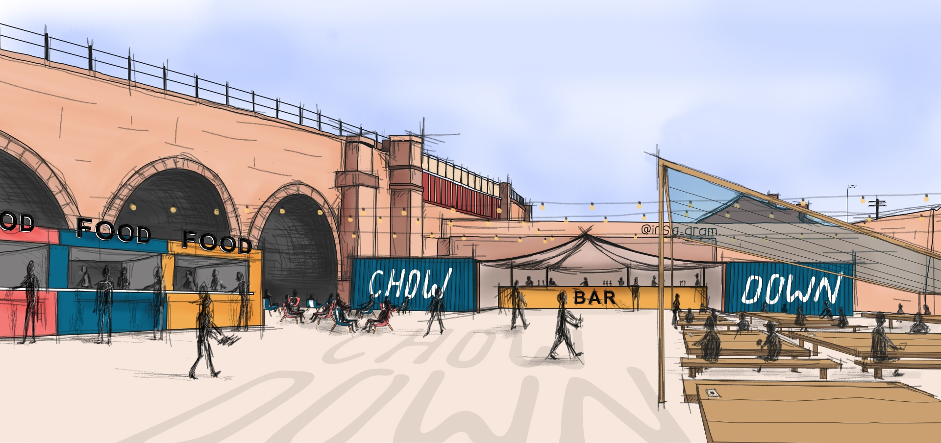 An artists impression of what Chow Down at Temple Arches will look like.