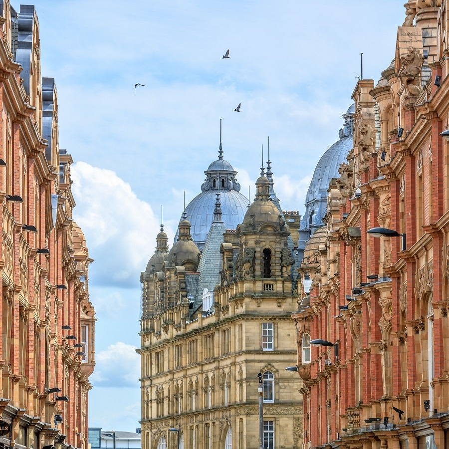 The beautiful architecture of King Edward Street in Leeds