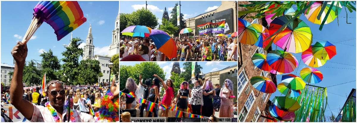 Leeds Pride collage of colourful images