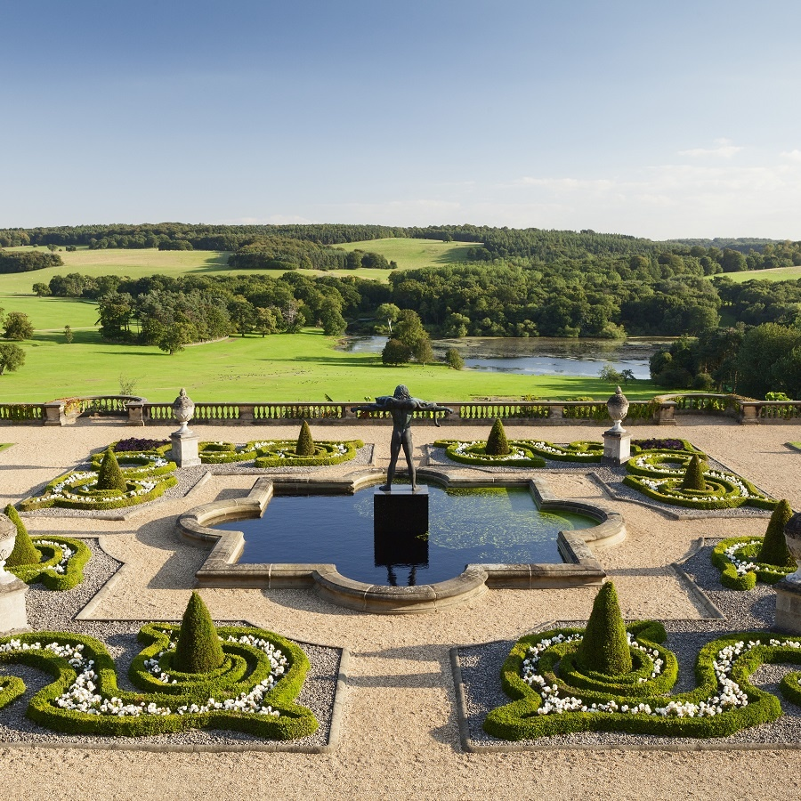 The terrace and views at Harewod House, Leeds. Credit Harewood House Trust and Lee Beal