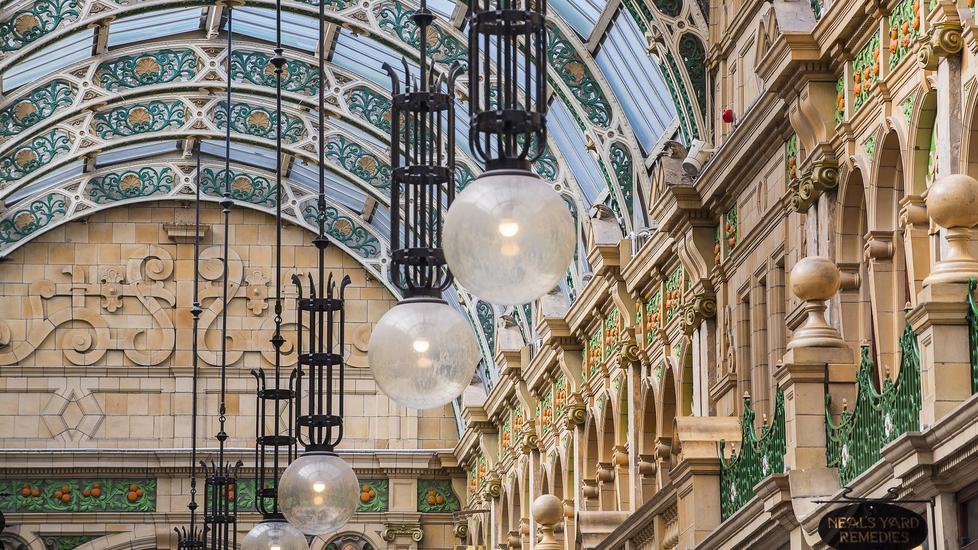 The ornate ceiling of Victoria Quarter, Leeds