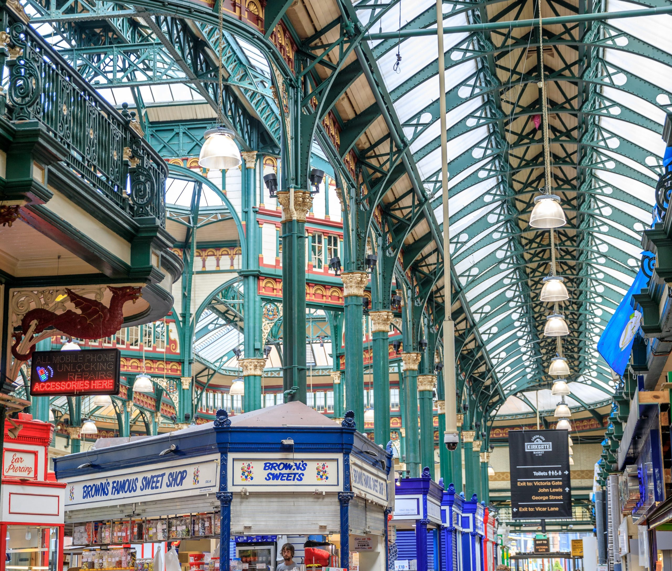 The ornate roof of Leeds Kirkgate Market, credit Wide Oyster
