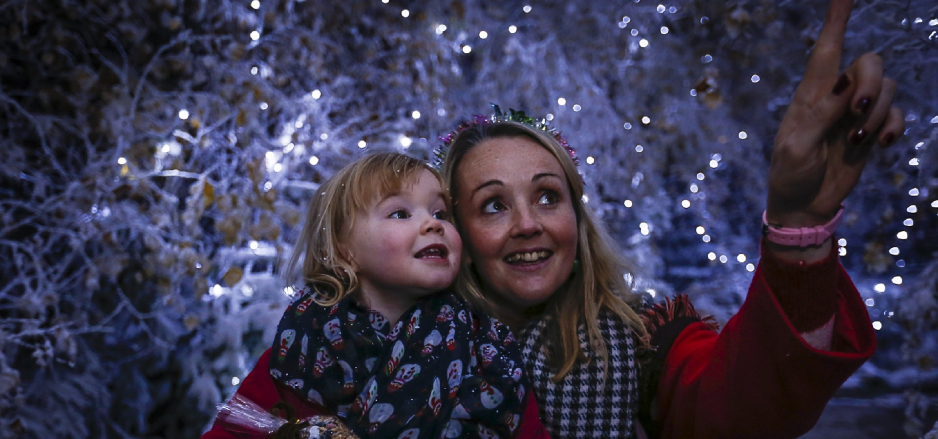 A woman and child enjoy The Christmas Experience at Lotherton, Leeds - credit Zagni Photography