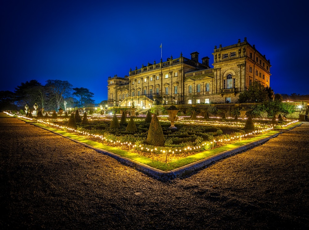 The exterior of Harewood House at Christmas - credit Carl Milner